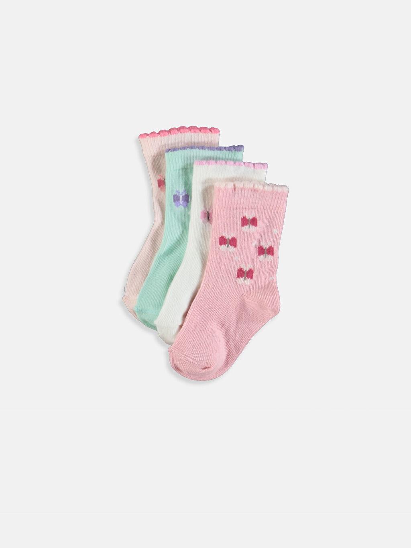 Çok Renkli Kız Bebek Desenli Soket Çorap 4'lü 9S9227Z1 LC Waikiki