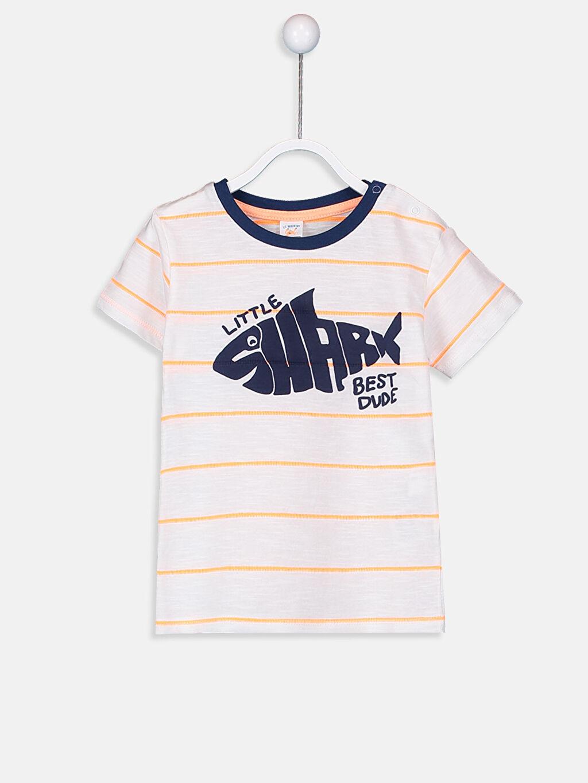 Turuncu Erkek Bebek Çizgili Baskılı Tişört 9S9647Z1 LC Waikiki