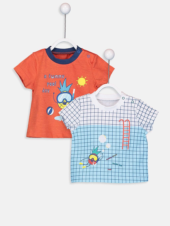 Beyaz Erkek Bebek Pamuklu Baskılı Tişört 2'li 9SG412Z1 LC Waikiki