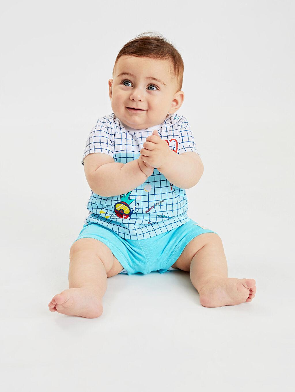 LC Waikiki Beyaz Erkek Bebek Pamuklu Baskılı Tişört 2'li