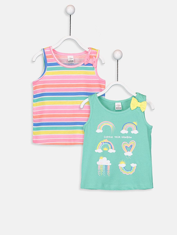 Yeşil Kız Bebek Desenli Atlet 2'li 9SI275Z1 LC Waikiki