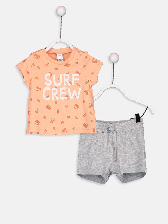 Mercan Erkek Bebek Pamuklu Tişört ve Şort Takım 2'li 9SJ370Z1 LC Waikiki