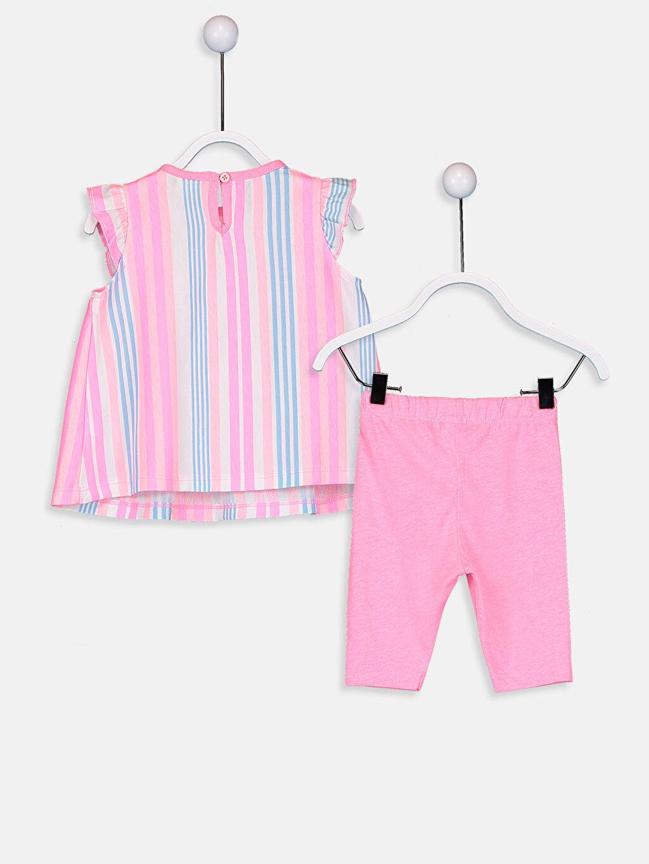 %100 Pamuk Standart Pijamalar Kız Bebek Çizgili Pijama Takımı