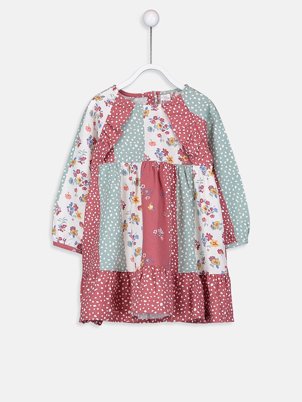 Pembe Kız Bebek Desenli Flanel Elbise 9SJ915Z1 LC Waikiki