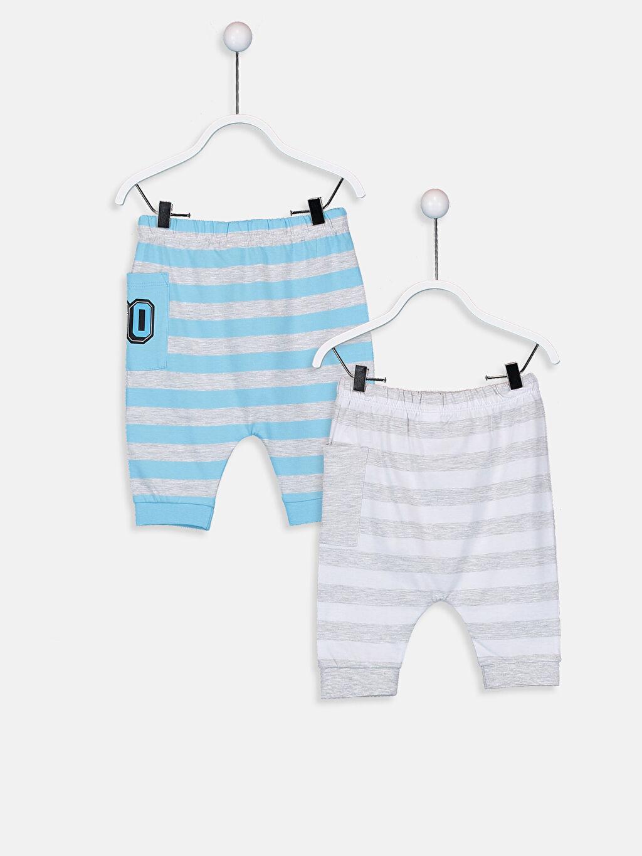 %99 Pamuk %1 Polyester  Erkek Bebek Cep Detaylı Pamuklu Şort 2'li