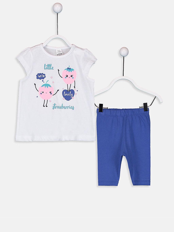 Beyaz Kız Bebek Pamuklu Desenli Pijama Takımı 9SK500Z1 LC Waikiki