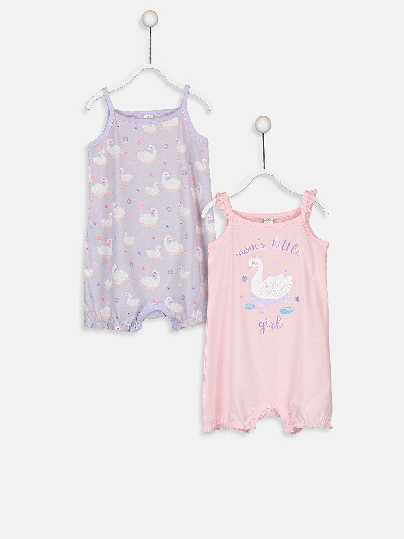 Pembe Kız Bebek Desenli Pijama  2'li 9SK504Z1 LC Waikiki