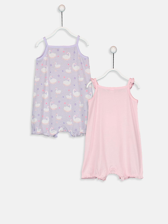 %100 Pamuk Standart Pijamalar Kız Bebek Desenli Pijama  2'li