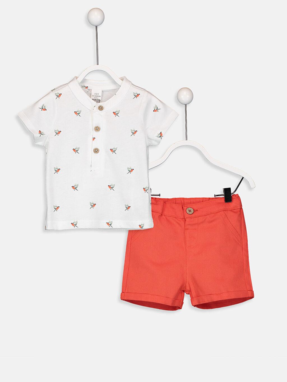 Beyaz Erkek Bebek Desenli Tişört ve Şort 9SK859Z1 LC Waikiki