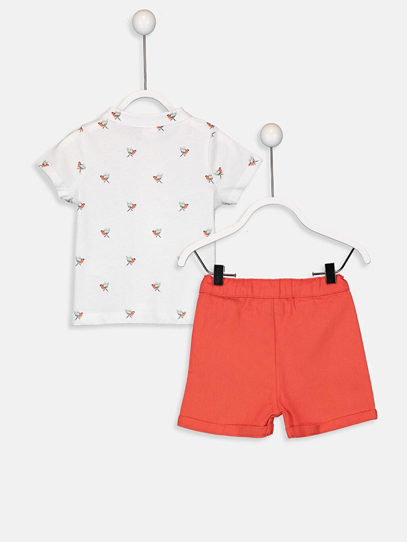 %100 Pamuk  Erkek Bebek Desenli Tişört ve Şort