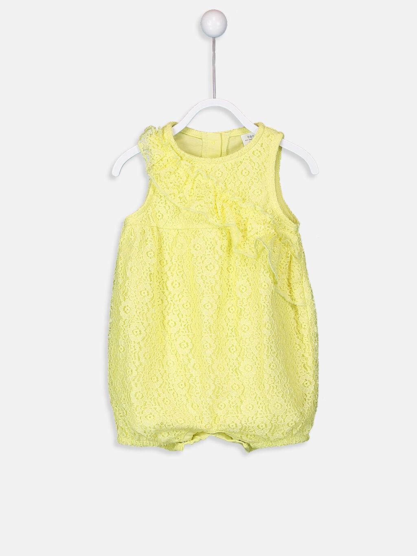 Sarı Kız Bebek Dantelli Tulum 9SL542Z1 LC Waikiki