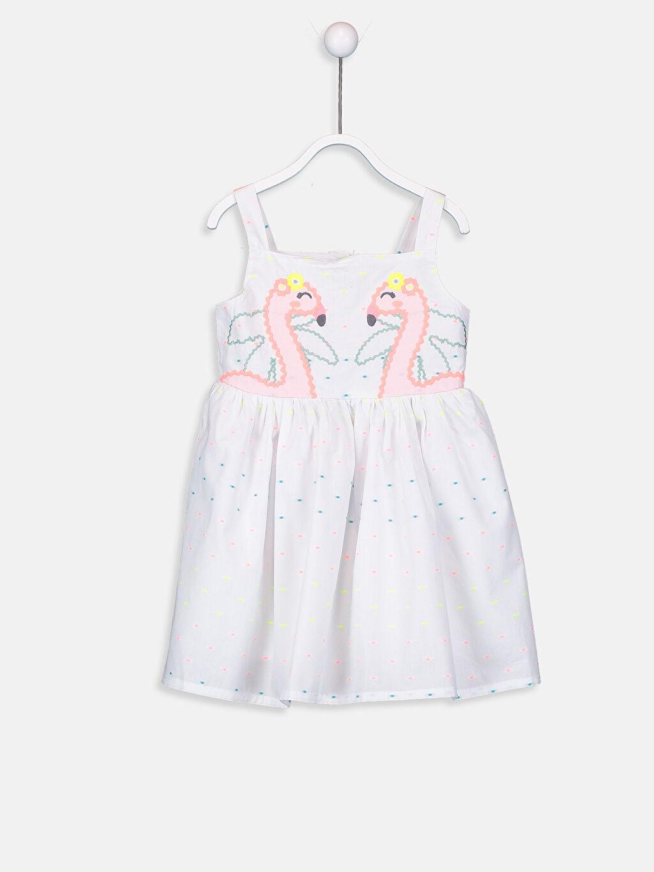 Beyaz Kız Bebek Desenli Pamuklu Elbise 9SM061Z1 LC Waikiki