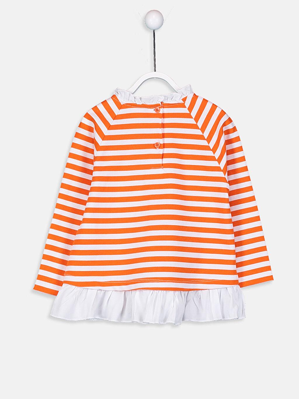 %100 Pamuk  Kız Bebek Çizgili Sweatshirt