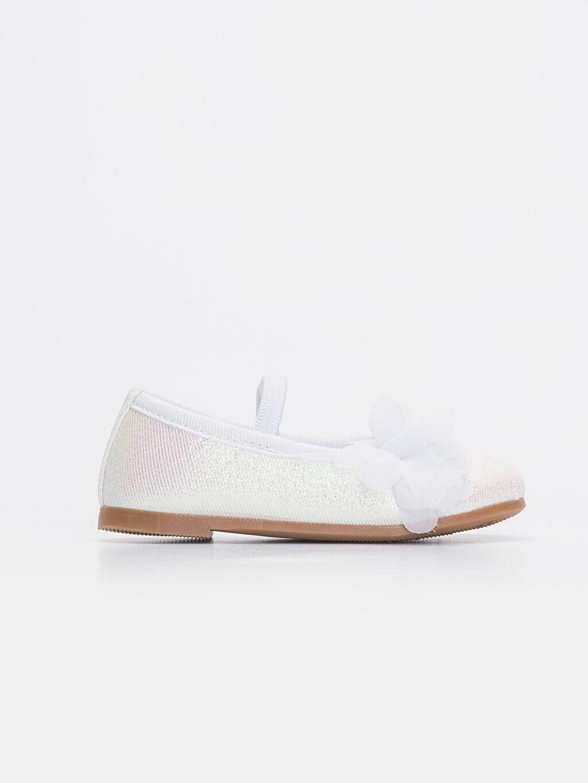 Beyaz Kız Bebek Simli Babet Ayakkabı 9SO308Z1 LC Waikiki