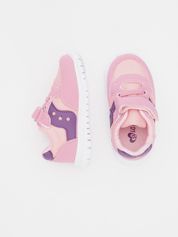 %0 Diğer malzeme (poliüretan) %0 Tekstil malzemeleri (%100 poliester)  Kız Bebek Cırt Cırtlı Spor Ayakkabı