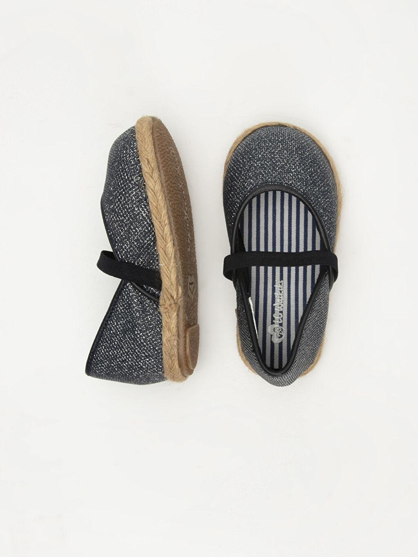 %0 Tekstil malzemeleri (%100 poliester)  Kız Bebek Simli Espadril Ayakkabı