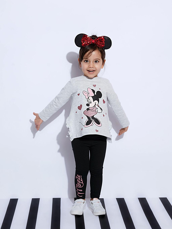 %98 Pamuk %2 Polyester Kız Bebek Minnie Mouse Baskılı Sweatshirt