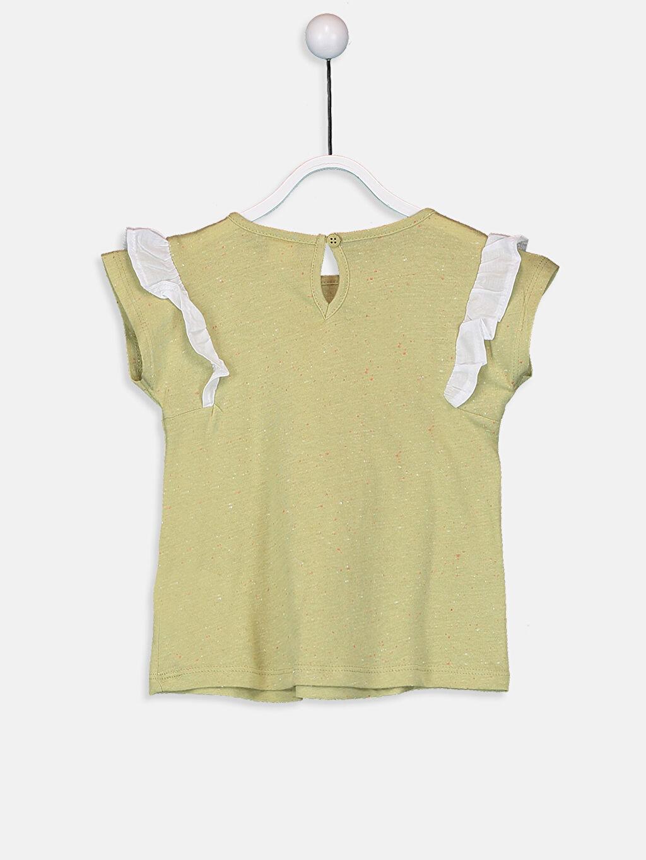 %97 Pamuk %3 Polyester Baskılı Kısa Kol Tişört Bisiklet Yaka Kız Bebek Pamuklu Desenli Tişört