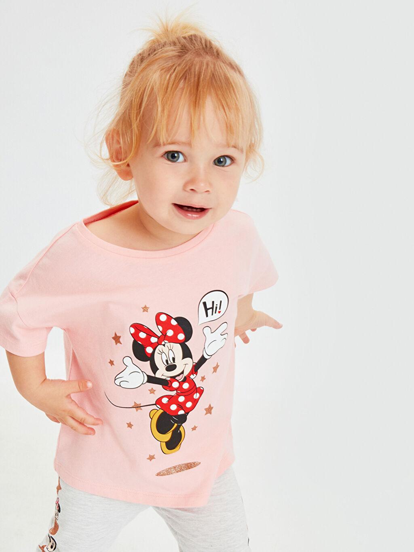 %100 Pamuk Kız Bebek Minnie Mouse Baskılı Tişört
