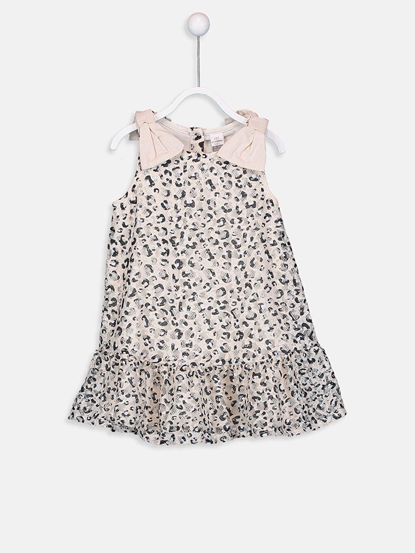 Bej Kız Bebek Leopar Desenli Elbise 9SQ575Z1 LC Waikiki