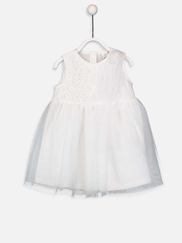 Ekru Kız Bebek Dantelli Elbise 9SQ582Z1 LC Waikiki