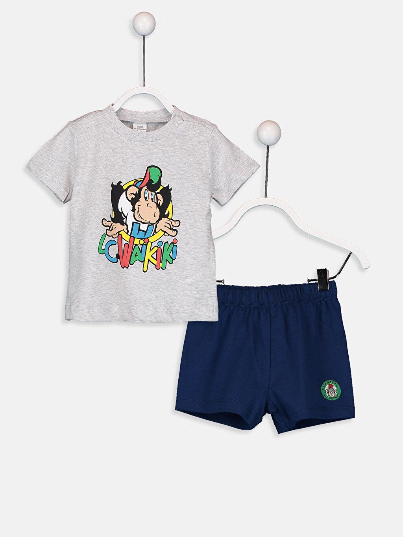Gri Erkek Bebek Nostaljik Maymun Baskılı Pijama Takımı 9SQ692Z1 LC Waikiki