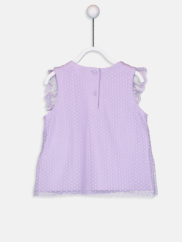 %100 Polyester %100 Pamuk Standart Baskılı Kısa Kol Tişört Bisiklet Yaka Kız Bebek Tül Detaylı Tişört