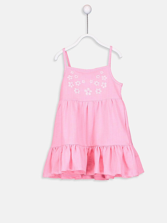 Pembe Kız Bebek Desenli Pamuklu Elbise 9SQ813Z1 LC Waikiki