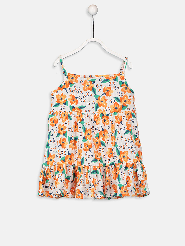 Turuncu Kız Bebek Desenli Pamuklu Elbise 9SQ813Z1 LC Waikiki