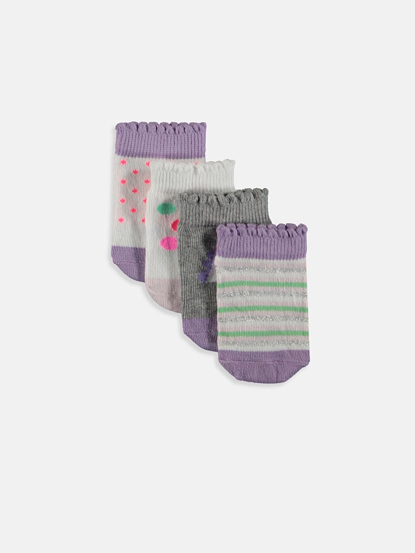 Gri Kız Bebek Patik Çorap 4'lü 9SR636Z1 LC Waikiki