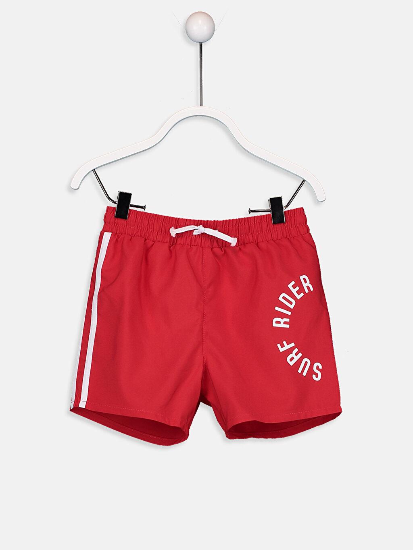 Kırmızı Erkek Bebek Yazı Baskılı Yüzme Şort 9ST043Z1 LC Waikiki