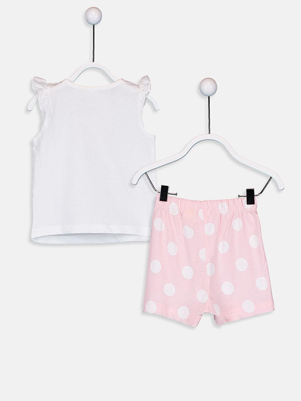 %100 Pamuk Standart Pijamalar Kız Bebek Minne Baskılı Pijama Takımı