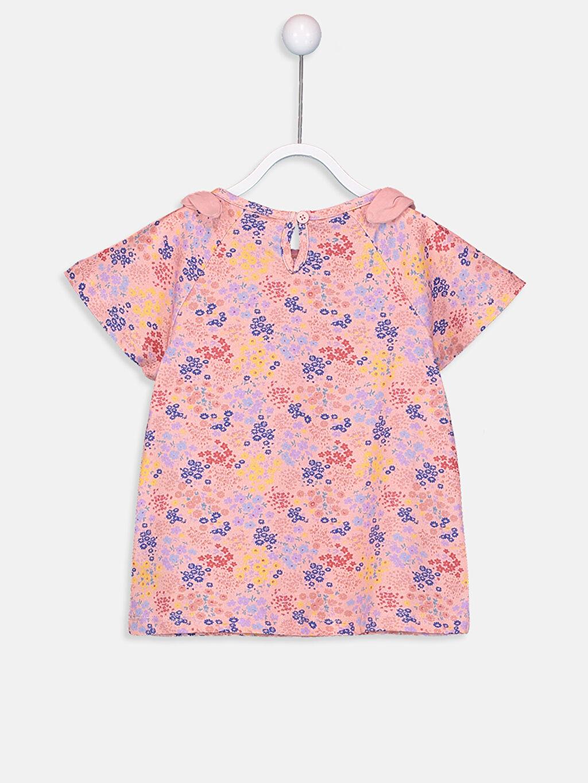 %100 Pamuk  Kız Bebek Desenli Pamuklu Tişört