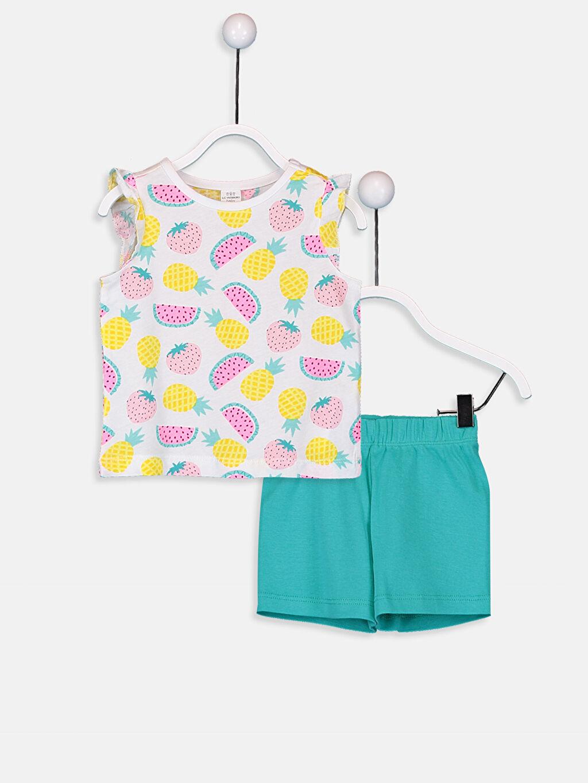 Beyaz Kız Bebek Baskılı Pijama Takımı 9SY381Z1 LC Waikiki