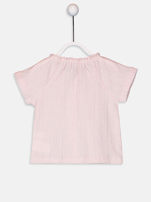 %59 Pamuk %40 Polyester %1 Elastan Kısa Kol Tişört Bisiklet Yaka Standart Kız Bebek Pamuklu Tişört