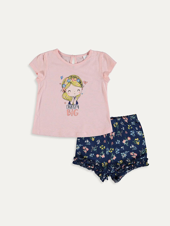 Pembe Kız Bebek Pamuklu Tişört ve Şort 9SA545Z1 LC Waikiki