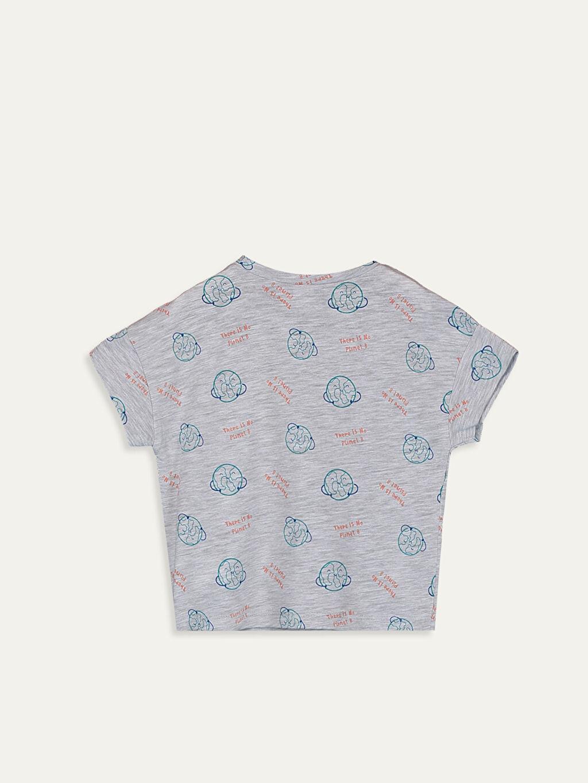 %68 Pamuk %32 Polyester Normal Baskılı Kısa Kol Tişört Bisiklet Yaka Erkek Bebek Baskılı Pamuklu Tişört