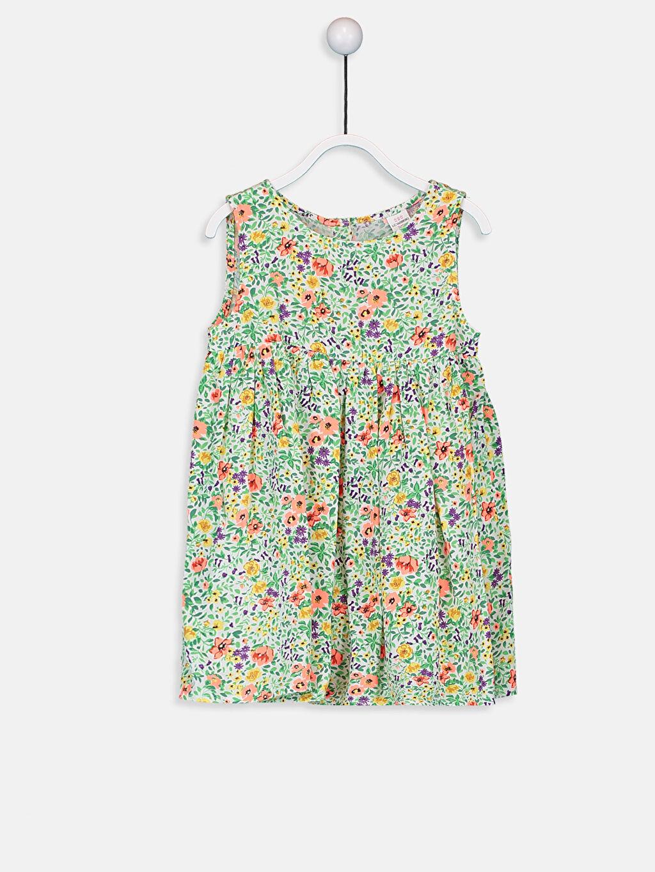 Ekru Kız Bebek Desenli Poplin Elbise 9SA787Z1 LC Waikiki