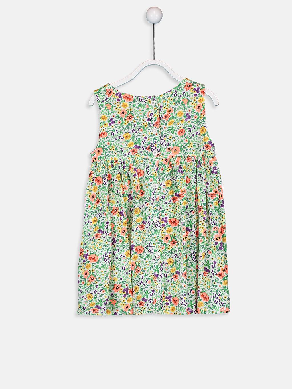 %100 Viskoz Desenli Kız Bebek Desenli Poplin Elbise