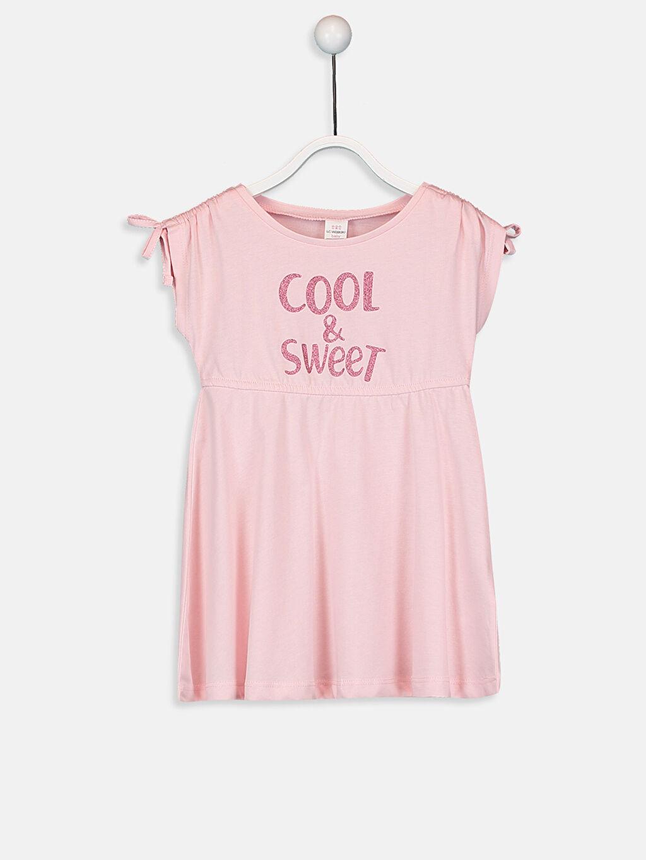 Pembe Kız Bebek Yazı Baskılı Pamuklu Elbise 9SB064Z1 LC Waikiki