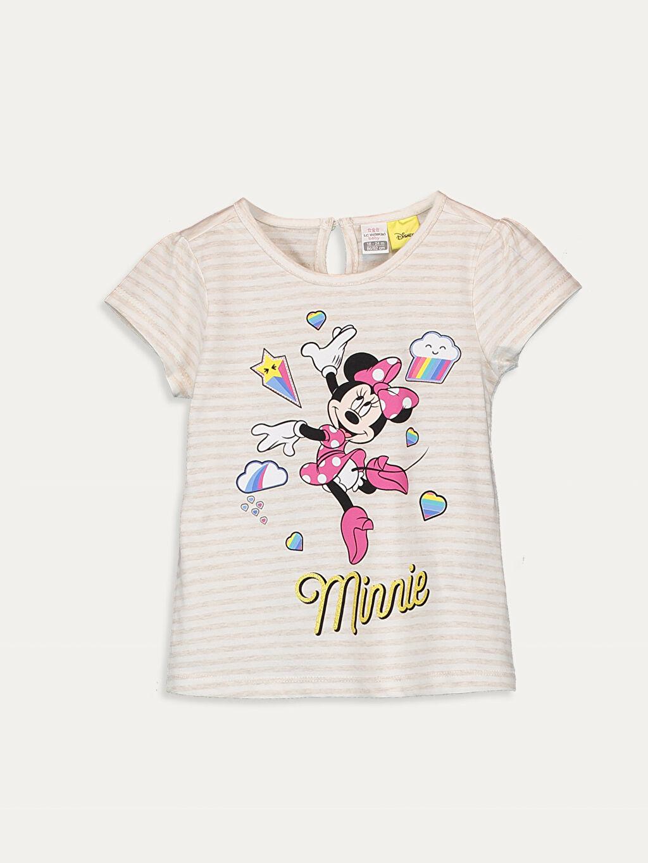 Bej Kız Bebek Minnie Mouse Baskılı Tişört  9SB186Z1 LC Waikiki