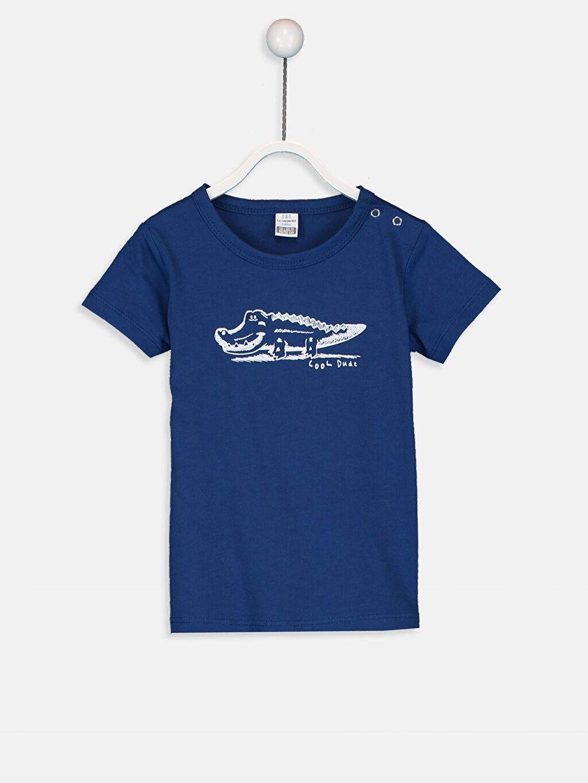 Lacivert Erkek Bebek Baskılı Pamuklu Tişört 9SB202Z1 LC Waikiki