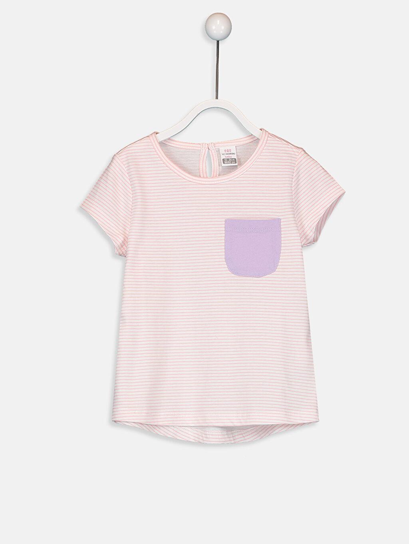 Pembe Kız Bebek Pamuklu Çizgili Tişört 9SB436Z1 LC Waikiki