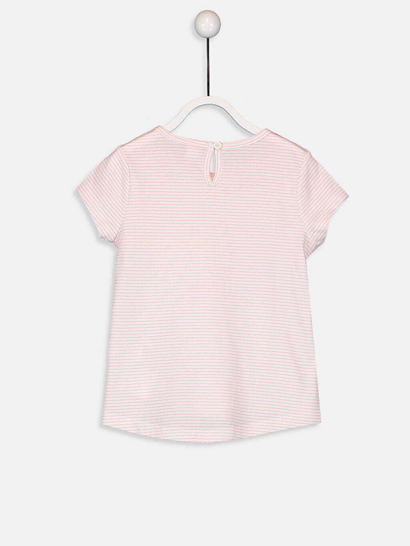 %100 Pamuk Çizgili Kısa Kol Tişört Bisiklet Yaka Standart Kız Bebek Pamuklu Çizgili Tişört