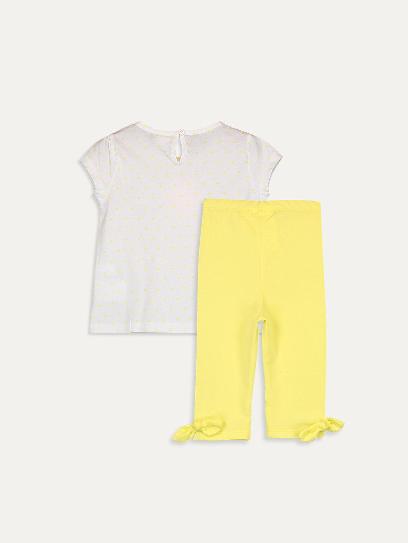 %100 Pamuk %95 Pamuk %5 Elastan  Kız Bebek Tişört ve Tayt 2'li