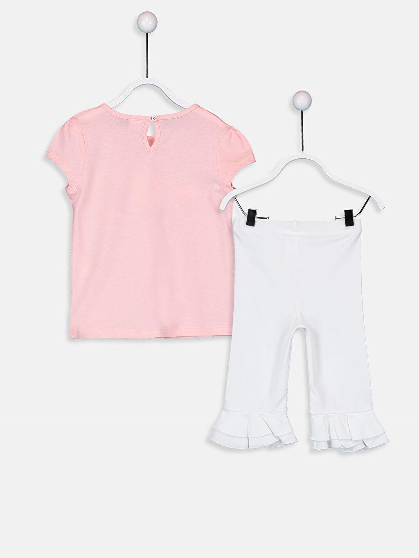 %100 Pamuk %95 Pamuk %5 Elastan  Kız Bebek Unicorn Desenli Tişört Ve Tayt