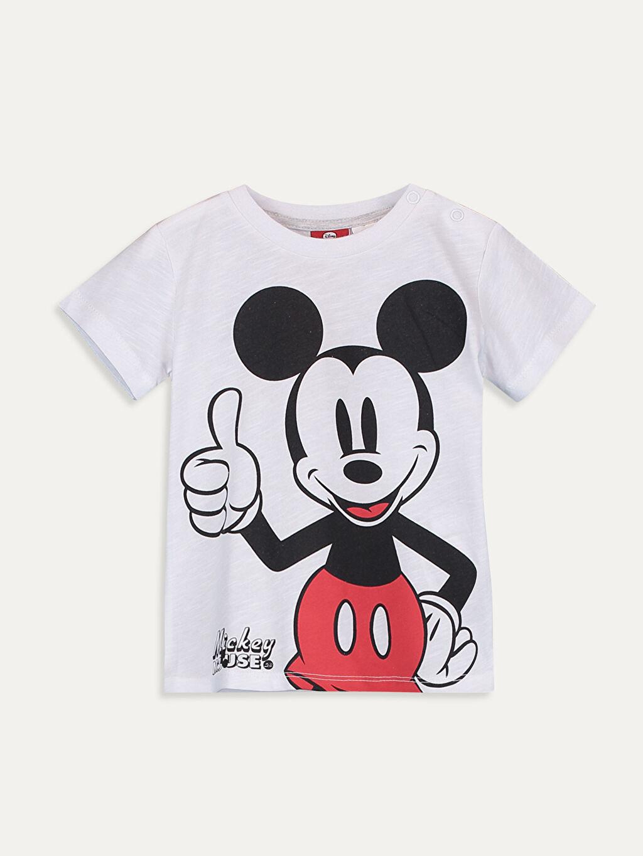 Beyaz Erkek Bebek Mickey Mouse Baskılı Tişört 9SB742Z1 LC Waikiki