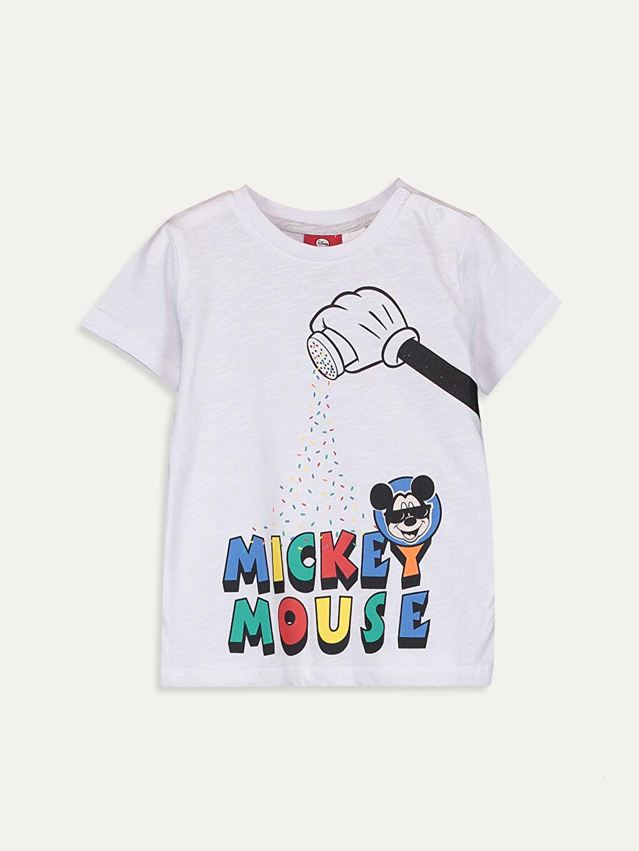 Beyaz Erkek Bebek Mickey Mouse Baskılı Tişört 9SB756Z1 LC Waikiki