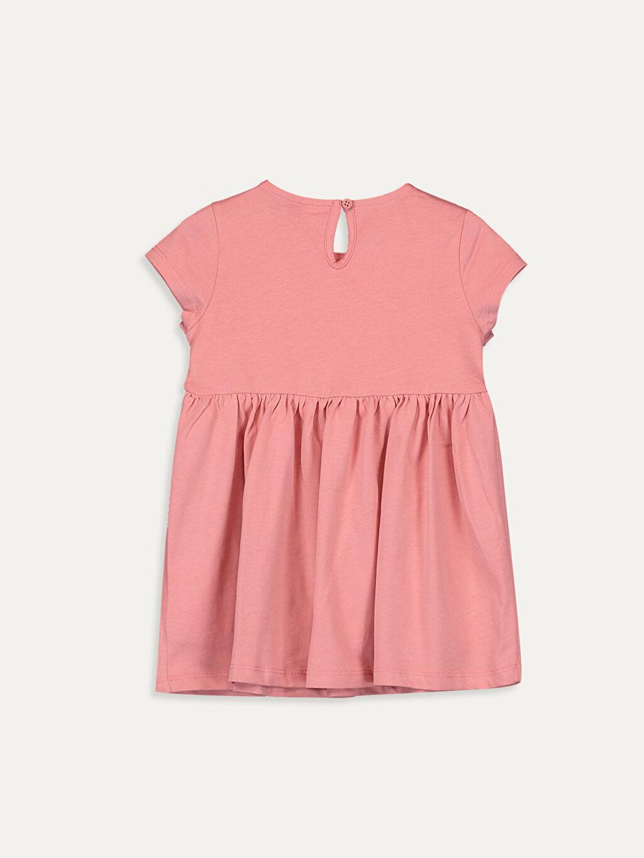 %100 Pamuk  Kız Bebek Yazı Baskılı Elbise