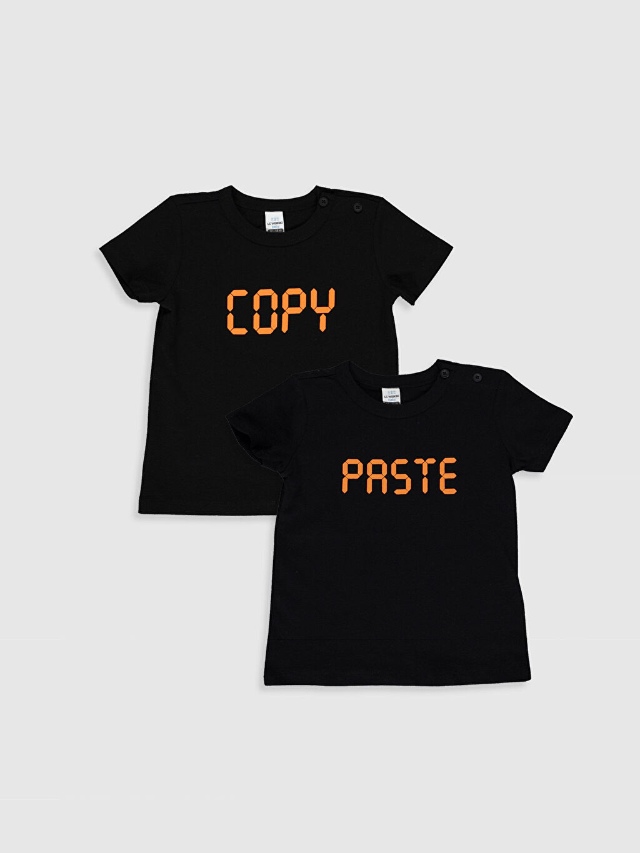 Siyah Erkek Bebek Yazı Baskılı Tişört 2'li 9SC498Z1 LC Waikiki
